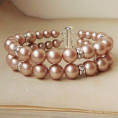 CHAMPAGNE Classic Bridal Wedding Bracelet, Double Strand Pearl Rhinestone Wedding Cuff, Pearl Bridal Bracelet, Wedding Bridal Jewelry, GRACE via Etsy