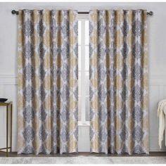 Legend 95 inch Damask Window Curtain Panel, Multicolor