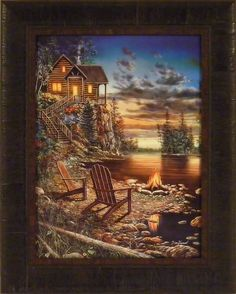 Summer Pleasures by Jim Hansel 17x21 Log Cabin Campfire Lake Sunset Framed Art Print Wall Décor Picture