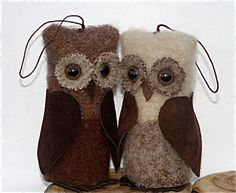 Wise Owl Ornament... reclaimed felted wool leather art dolls home decor ecofriendly felt toy (woolcrazy). $18.50, via Etsy.