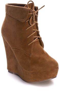 CAMEL LACE UP ANKLE WEDGE BOOTIES