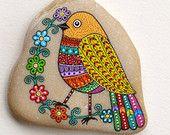 Oiseau de Pierre peint à la main / Ucello Dipinto un mano