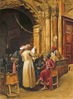 interesting painting object - Ludwig Deutsch - 1885 A Gathering Around the Morning News, Cairo Art Arabe, Empire Ottoman, Kairo, Arabian Art, Old Egypt, Academic Art, Pics Art, Ludwig, Post Impressionism