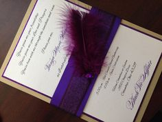 Luxury Glitter & Feather Wedding Invitation by MagicBeyondMidnight, $7.50