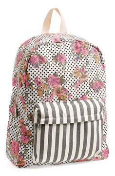 Polka dot, stripe, & floral backpack. So cute!