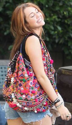 Miley Cyrus Indian Banjara Boho Bag!   Vintage Boho bag made of worn silk sari's. Every peace is unique & to die for! So lovely for beach, as shopping bag or just to have!