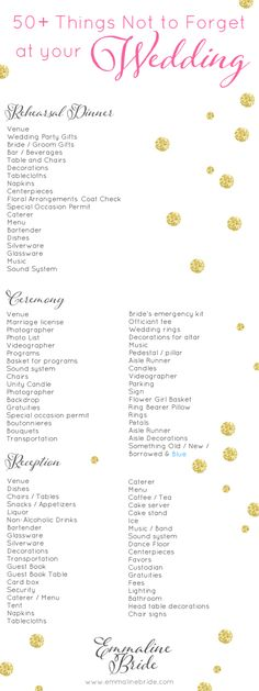 wedding checklist - things not to forget at your wedding - Wedding Day Checklist Printable