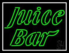 Green Juice Bar Neon Sign 24 Tall x 31 Wide x 3 Deep, is 100% Handcrafted with Real Glass Tube Neon Sign. !!! Made in USA !!!  Colors on the sign are Green and White. Green Juice Bar Neon Sign is high impact, eye catching, real glass tube neon sign. This characteristic glow can attract customers like nothing else, virtually burning your identity into the minds of potential and future customers. Green Juice Bar Neon Sign can be left on 24 hours a day, seven days a week, 365 days a year..