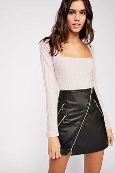 090890351d Beside Me Long Sleeve Bodysuit - Long Sleeve Square Neck Ribbed Light Pink Bodysuit  Free People