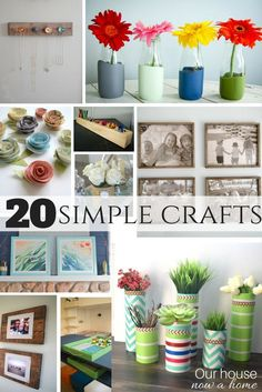 20 simple crafts, low cost DIY projects for the home. Easy ways to decorate a house. Paper crafts, wood projects, DIY wall art, DIY home decor.