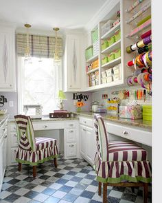 Home-Dzine - Craft room that works. I love what they have done with the ribbons and wrapping paper. A little busy for a home office but brilliant for a craft space