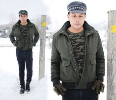 Studded Leather Hat, H Bomber Jacket, Old Navy Camo Shirt, Topman Boots