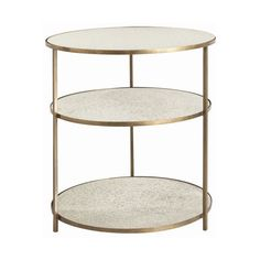 Arteriors Home Percy Antique Brass Side Table ($1,656) ❤ liked on Polyvore featuring home, furniture, tables, accent tables, inlaid furniture, marquetry table, inlay table, antique brass furniture and shelving furniture