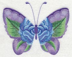Watercolor Blue Rose Butterfly design (L9192) from www.Emblibrary.com