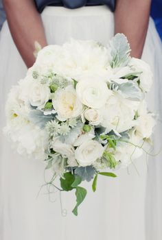 dusty miller & white roses - adds a little blue/grey to the bouquet..not sure if its a summer bouquet though