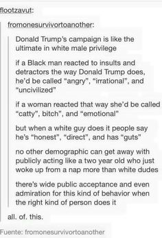 I am politically neutral. I appreciate this post b/c it is true. Racism and sexism plays such a HUGE part in the way people are perceived