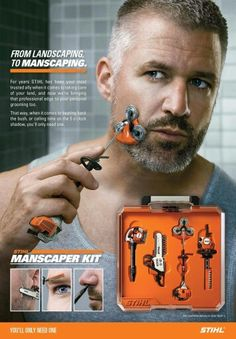 Landscaping to manscaping with the Stihl Manscaper Kit. Shut up and take my money...if only it were real!