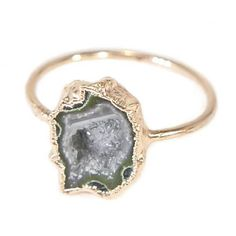 218bb144b This natural, raw stone ring features a rare, cut and polished Tabasco  Geode that
