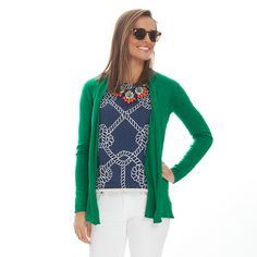 The essential cardigan is an easy, light-weight throw on piece with a subtle shawl collar. Straight fit. In size Medium: Body length - 30