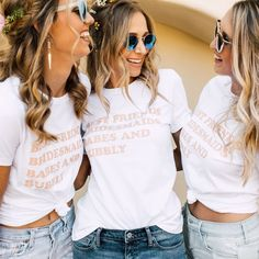 Looking for cool and chic t shirts for you bride squade or bachelorette party? T Take a look at our favorite bridal shower and bachelorette party T shirts. Disney Shirts For Family, Shirts For Teens, Couple Shirts, Josephine Baker, Greys Anatomy Br, Engagement Session, Bachelorette Party Shirts, Bachelorette Ideas, Bachelorette Weekend