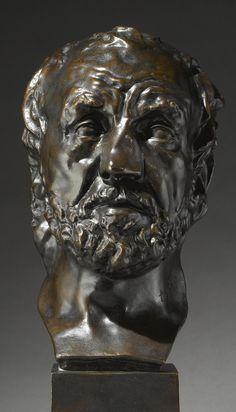 **MASQUE DE L'HOMME AU NEZ CASSÉ AVEC SOCLE Auguste Rodin, Figurative, Studios, Sculptures, Scene, Portraits, Statue, Art, Sculpture