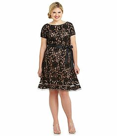 S.L. Fashion Woman Belted Lace Dress