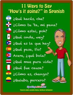 "in Spanish: 11 Ways to Say ""How's it going?"" in Spanish INFOGRAPHIC Here is a collection of 11 phrases used by locals in Latin America and Spain to say ""How's it going?"" or ¿Cómo te va? in Spanish.Spanish Spanish may refer to: Spanish Phrases, Spanish Vocabulary, Spanish Words, Spanish Language Learning, Teaching Spanish, Spanish Sayings, Vocabulary Games, Teaching French, Spanish Basics"