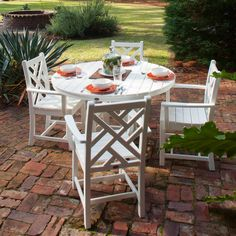POLYWOOD Chippendale 5 Piece Dining Set Outdoor Dining Set, Patio Dining, Outdoor Decor, Outdoor Living, Dining Tables, Kitchen Dining, Polywood Outdoor Furniture, Outdoor Furniture Sets, Backyard Furniture