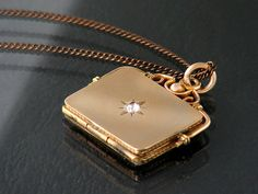 Gold Antique Locket with Rhinestone, Edwardian Fob Locket - Rose Gold Rectangle Locket - 20 Inch Chain Included