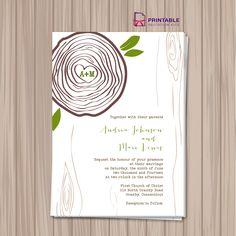 Rustic Tree Ring Wedding Invitation Template. For customizations: printableinvitationkits@gmail.com