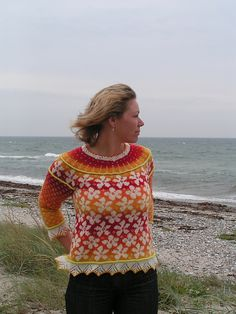 """Spring is he second of the series of """"Season patterns"""". For Autumn, which was the first I designed, you had to steek. That prevented many from knitting the cardigan and for Spring, I have designed a pattern where you knit all of it on circular needles. Fair Isle Knitting Patterns, Sweater Knitting Patterns, Knitting Designs, Knit Patterns, Hand Knitting, Fair Isles, Knitwear, Knit Crochet, Circular Needles"""