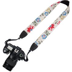 Elvam Camera Neck Shoulder Belt Strap for DSLR / SLR / Nikon / Canon / Sony / Olympus / Samsung / Pentax ETC - Vintage Flower Floral. High-quality pure fashion print cotton canvas webbing, black matched nylon and high-tensile plastic fasteners to ensure a great fashionale camera neck shoulder strap. The universal interfaces (the connectors) are compatible with various DSLR / SLR brands, like Canon, Nikon, Samsung, Pentax ETC. The adjustable length makes the camera strap applicable to most...