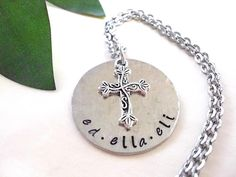 Cross Personalized Jewelry Hand Stamped Jewelry by CharmAccents