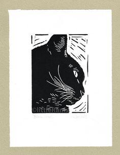 Schwarze Katze-Profil  Linolschnitt. Original von littleRamstudio