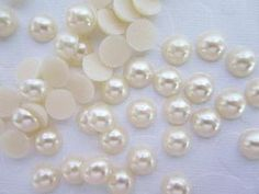 100pc Hot Fix 5mm Iron On Craft Half Pearls (E57)