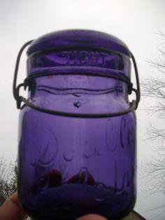 Deep Purple Double Safety Pint Vintage Canning Fruit Mason Jar SCA.