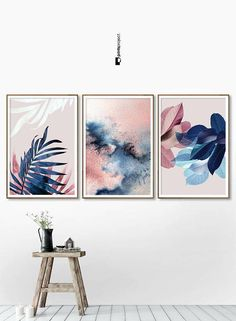 große Wandkunst Blush Pink Leaves, Over Bed Wall Art, Wedding Gift, Blue Plant Print, Botanical Post Blue Plants, Pink Plant, Pink Wall Art, Pink Leaves, Bed Wall, Bedroom Wall Art Above Bed, Bedroom Decor, Wall Decor, Art Abstrait