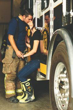 fireman and his fiance if I marry one I want a pic like this Fireman Wedding, Firefighter Wedding, Firefighter Love, Engagement Shots, Engagement Couple, Country Engagement, Couple Photography, Wedding Photography, Engagement Photography