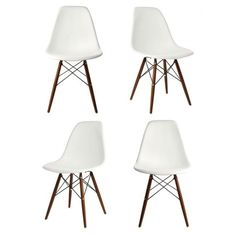 The molded white plastic dining shell chair with dark walnut wood eiffel legs is a truly comfortable chair, the shell dining chair sports a futuristic yet retro look at the same time.