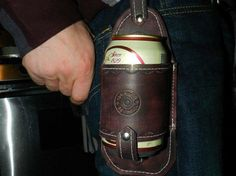 Husband gifts Beer accessories Leather Can Holder by CJWPARACORD