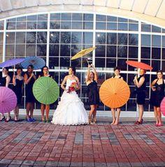 Colorful umbrellas with black bridesmaid dresses