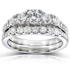 Diamond Engagement Ring and Wedding Band Set 1 carat (ctw) in 14k White Gold