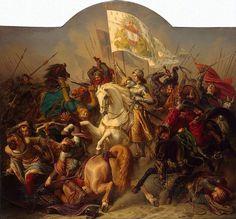 Painting of St. Joan of Arc in Battle by Hermann Stilke