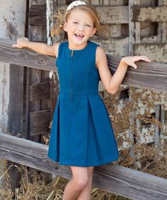 Another great find on #zulily! Navy Zip-Front Pleated Dress - Toddler & Girls #zulilyfinds