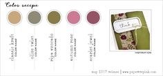 May 2017 Color Recipe #6 (Kraft, Olive Twist, Ripe Avocado, Autumn Rose, Scarlet  Jewel)