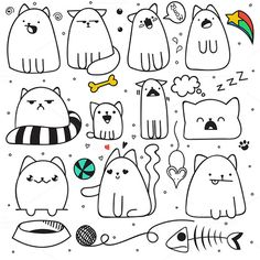 Illustration of Set of 11 sticker doodle cats with different emotions. Isolated cat for design. Fish and mouse. The ball and the ball of yarn. Speech bubble vector art, clipart and stock vectors. Gato Doodle, Doodle Art, Doodle Drawings, Easy Drawings, Kawaii Doodles, Cute Doodles, Tier Doodles, Doodles Bonitos, Doodle People