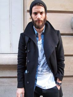 Pair a black overcoat with a blue denim shirt for a work-approved look.  Shop this look for $116:  http://lookastic.com/men/looks/black-beanie-blue-denim-shirt-white-crew-neck-t-shirt-black-overcoat/6299  — Black Beanie  — Blue Denim Shirt  — White Print Crew-neck T-shirt  — Black Overcoat