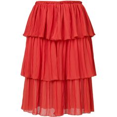 See By Chloé tiered skirt ($395) ❤ liked on Polyvore featuring skirts, bohemian style skirts, red skirts, tiered skirt, see by chloé and see by chloe skirt