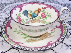 RARE AYNSLEY ROOSTER ENAMEL FLORAL FISH SCALE TEA CUP AND SAUCER | eBay