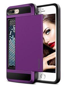 iPhone 7 Plus Case Vofolen Sliding Card Holder iPhone 7 Plus Wallet Case Cover Secret ID Slot Dual Layer Protective Hard Shell Soft TPU Rugged Bumper Armor Tough Case for iPhone 7 Plus - Purple